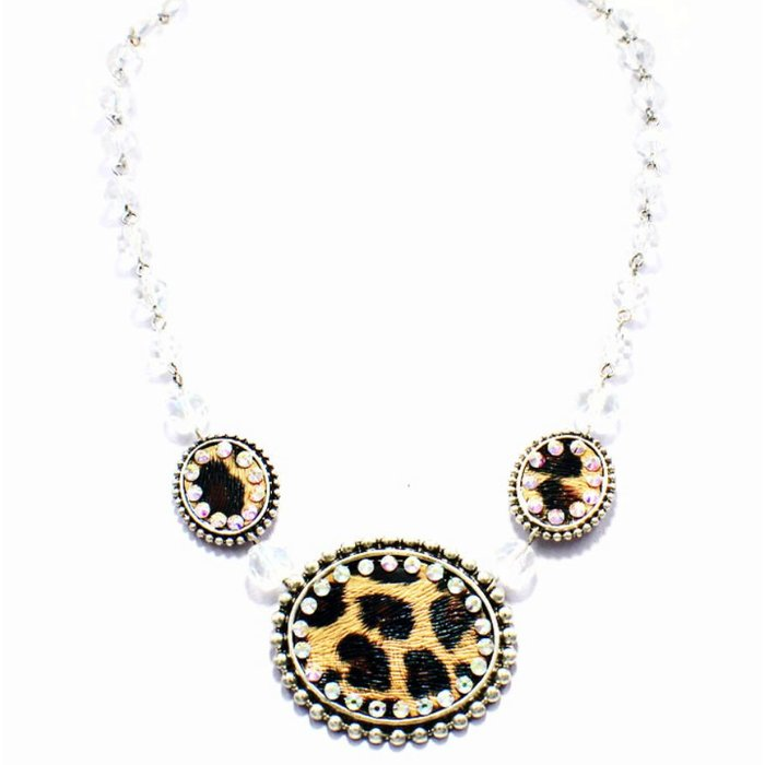 3-Oval Leopard Cream Crystal Silver AB Necklace