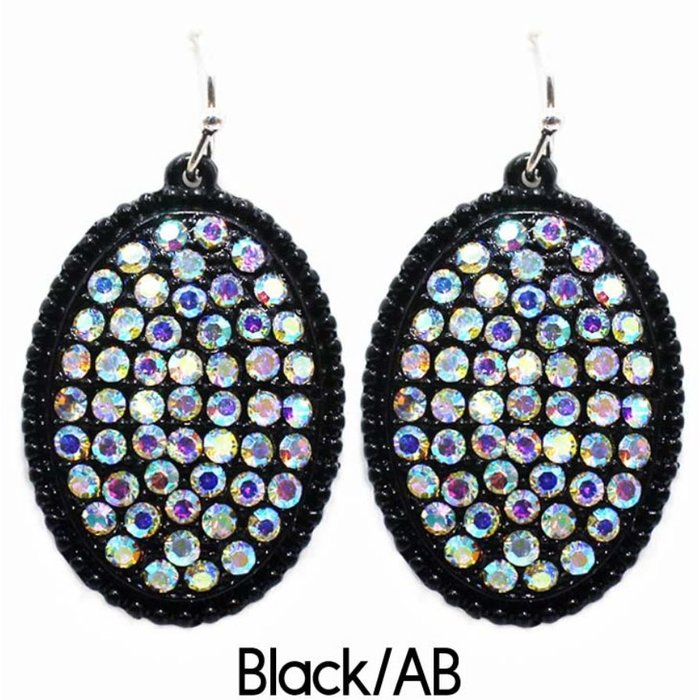 Black Oval Bling AB Stone Earrings