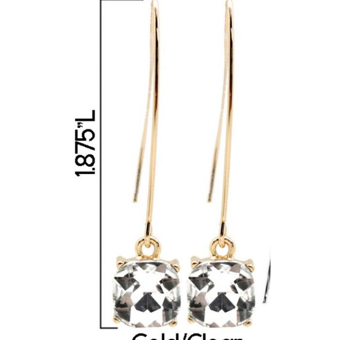 Clear Square Bling Gold Dangle Earrings