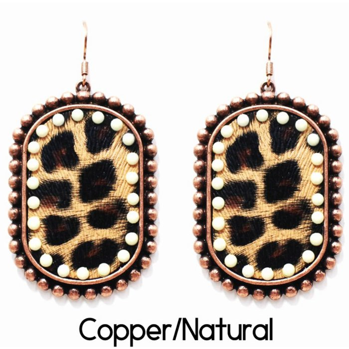Copper Natural Crystal Leopard Earrings