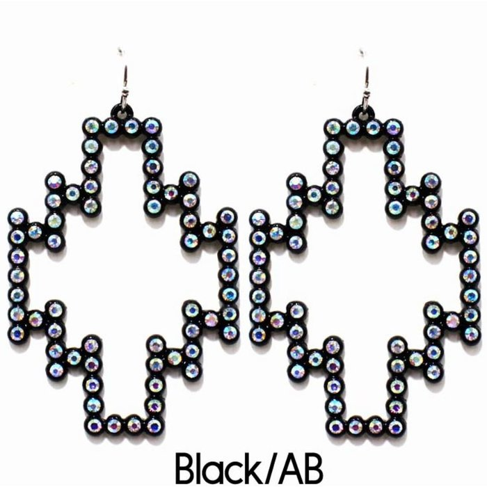 Black AB Rhinestone Aztec Earrings