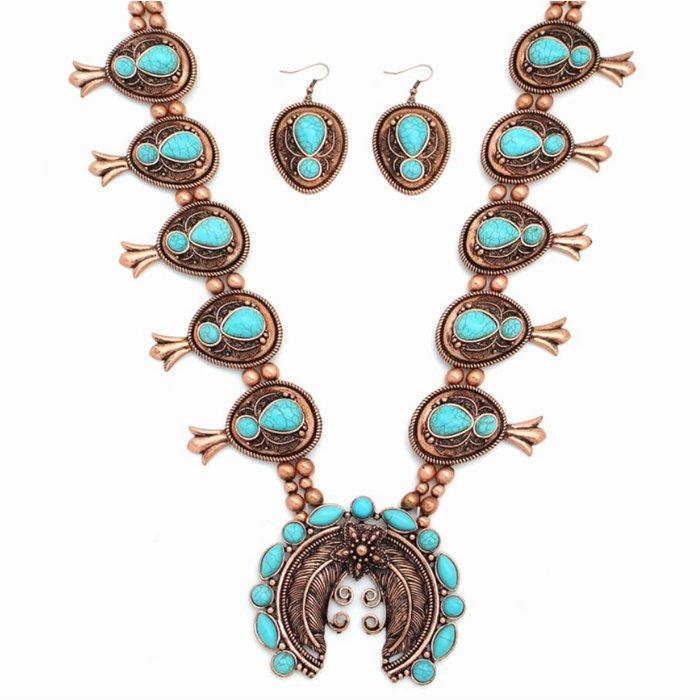 Large Bronze & Turquoise Squash Blossom Necklace Set