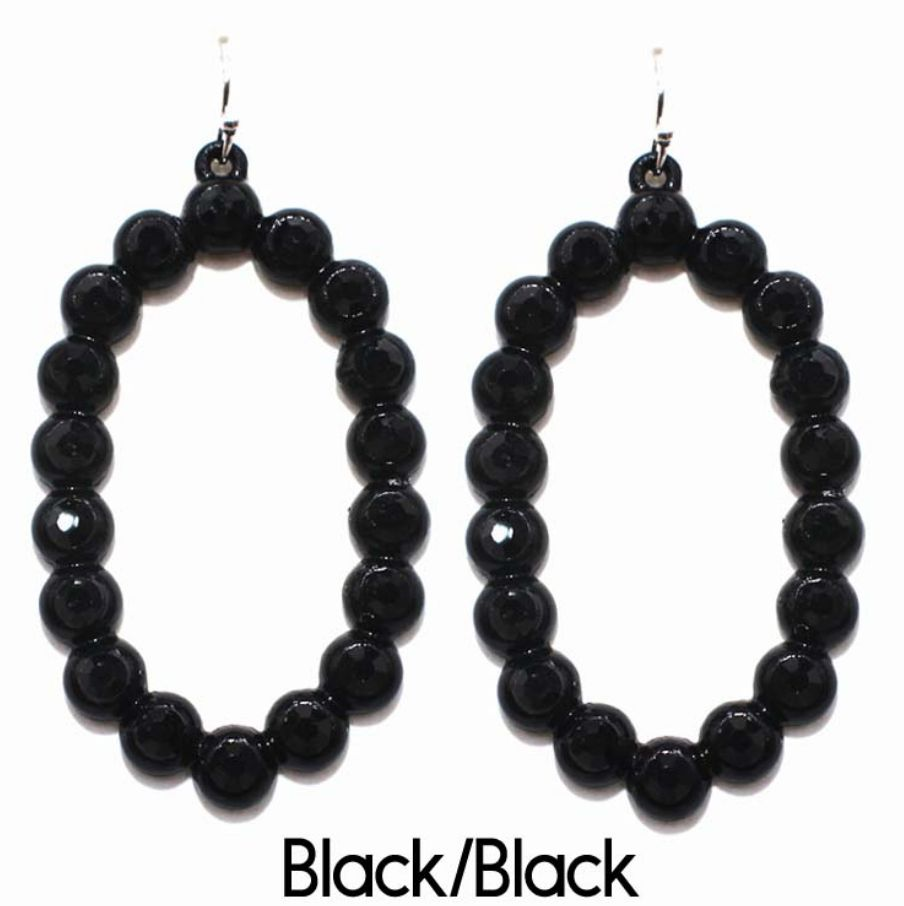 Black Open Oval Rhinestone Earrings