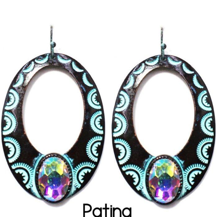 Bali Patina Open Teardrop with Large AB Stone