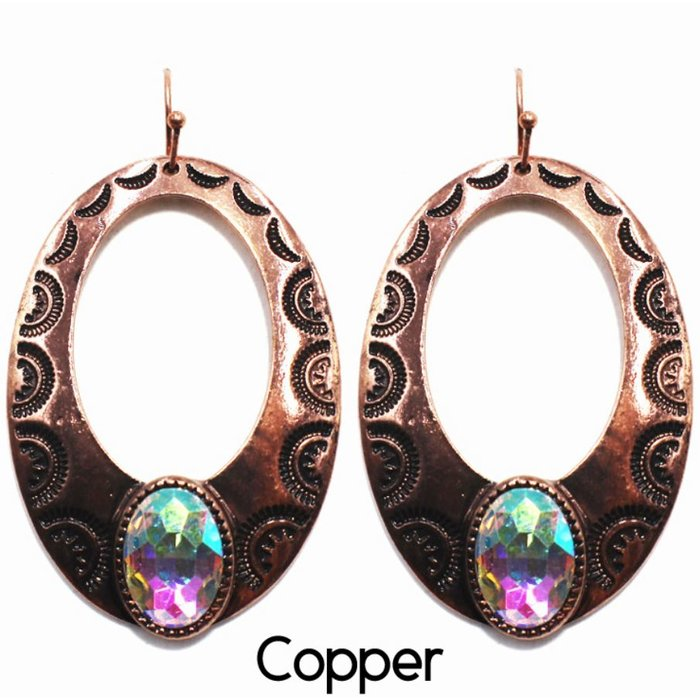 Bali Copper Open Teardrop with Large AB Stone