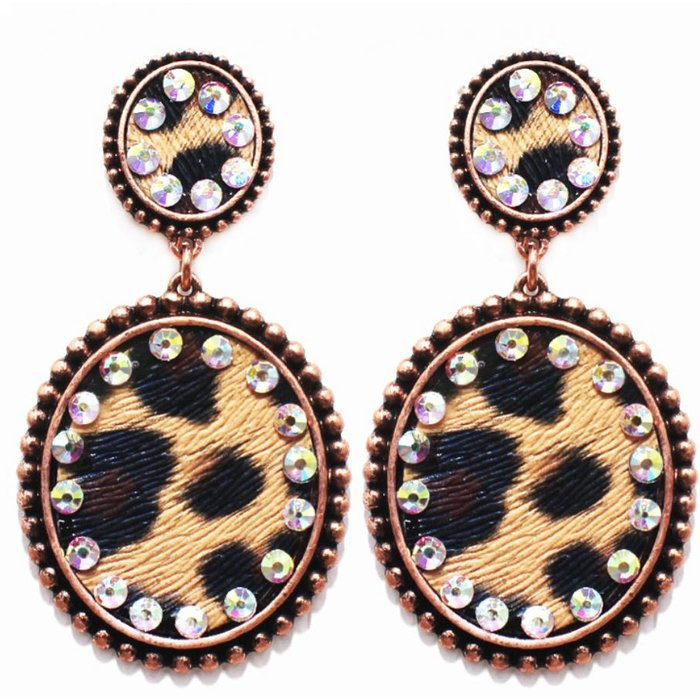 Copper Double Leopard Oval Post Earrings with AB Crystals