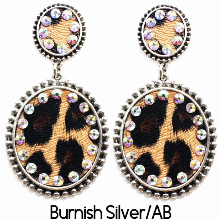 Silver Double Leopard Oval Post Earrings with AB Crystals