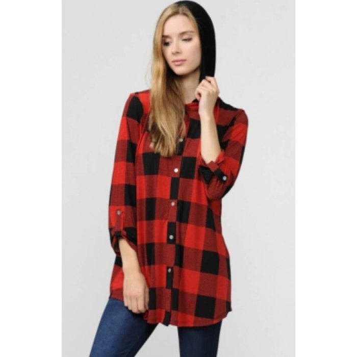 Red Plaid Button Up Top with Double Hood
