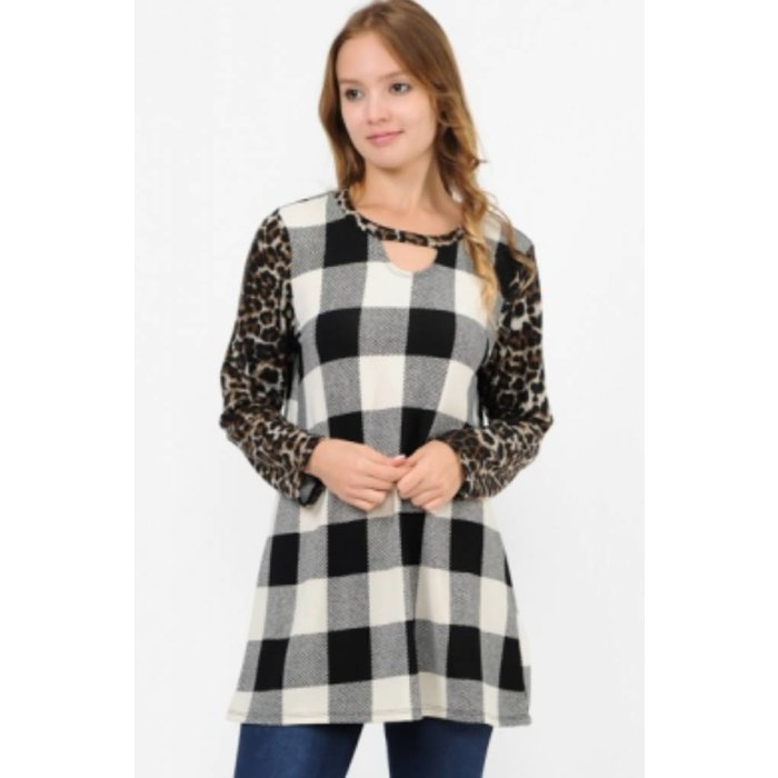 Black Plaid Leopard Choker Neck Tunic