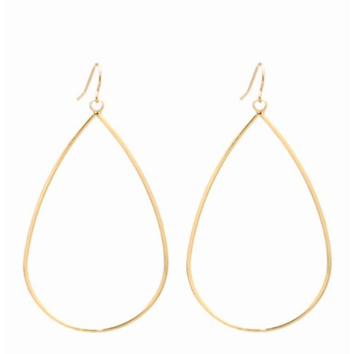 Gold Open Teardrop Dangle Earrings