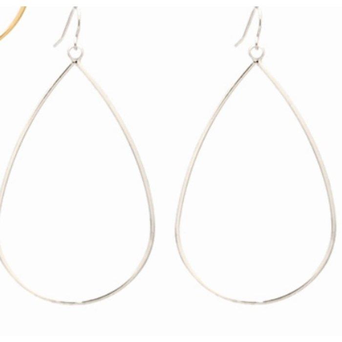 Silver Open Teardrop Dangle Earrings