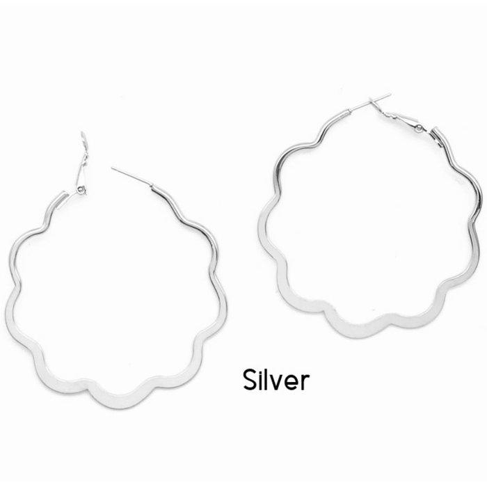 Silver Scalloped Edge Hoop Earring
