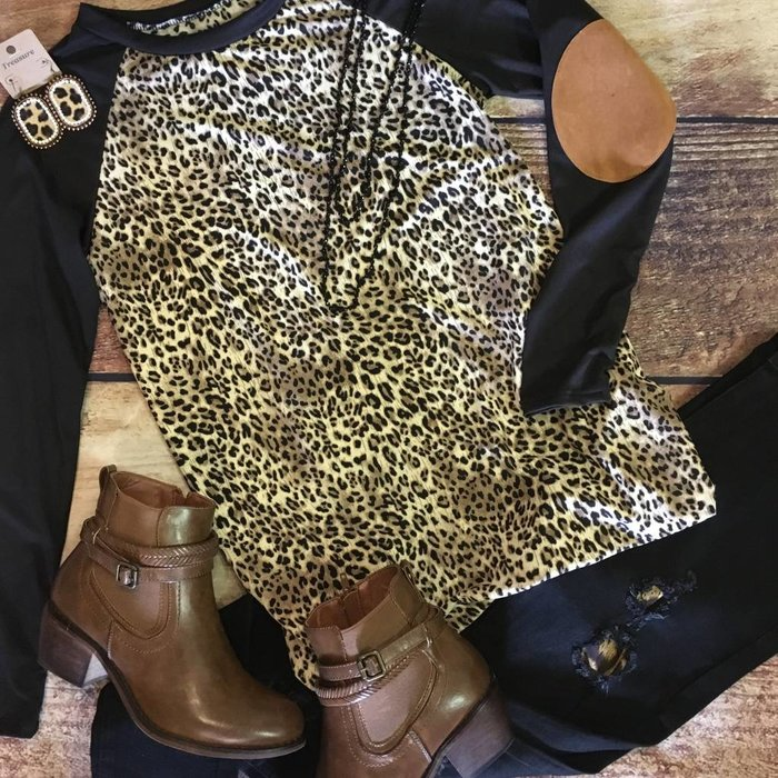 Leopard Raglan Style Tunic with Patch Sleeves