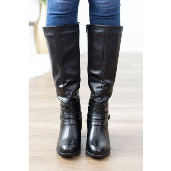 Supreme Black Distressed Zip Up Boots