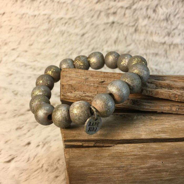 Silver Teak Wood Beaded Bracelet