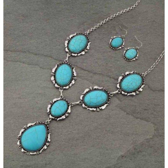 Western Teardrop Turquoise Drop Necklace Set
