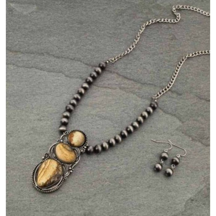 3-Stone Silver Navajo Pearl Necklace Set
