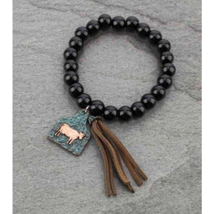 Black Cow Tag Stretch Bracelet