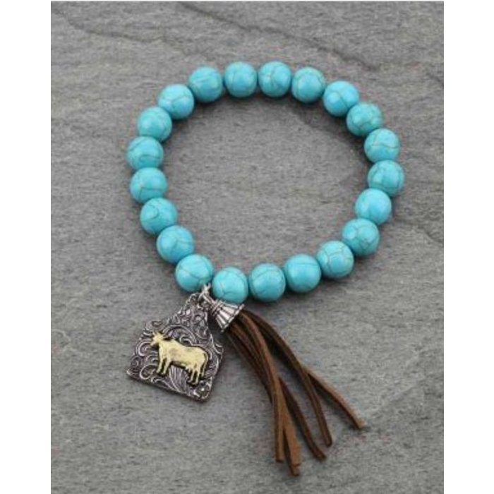 Turquoise Cow Tag Stretch Bracelet