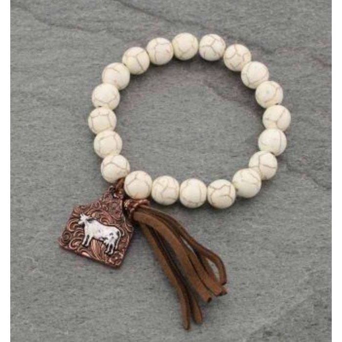 Cream Cow Tag Stretch Bracelet