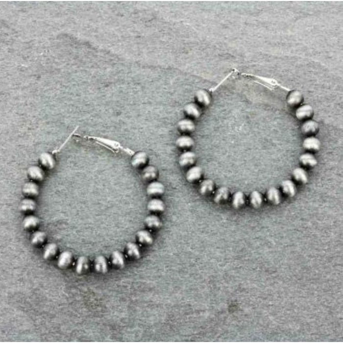 Silver Navajo Pearl 45mm Hoop Earrings