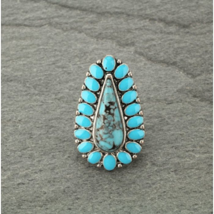 Teardrop Turquoise Stone Stretch Ring