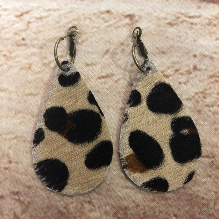 Calf Hide Leopard Teardrop Earrings