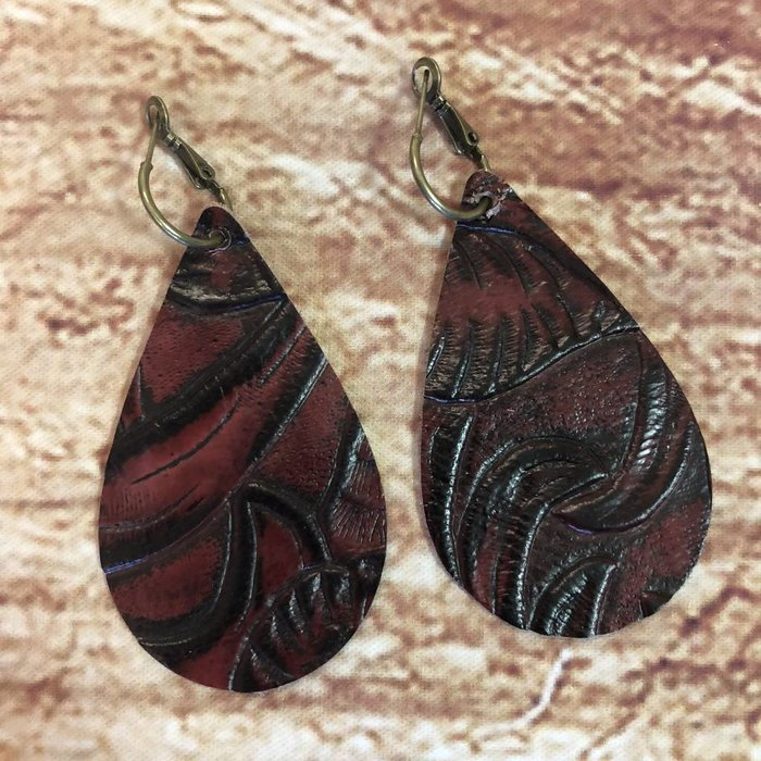 Maroon Tooled Leather Teardrop Earrings