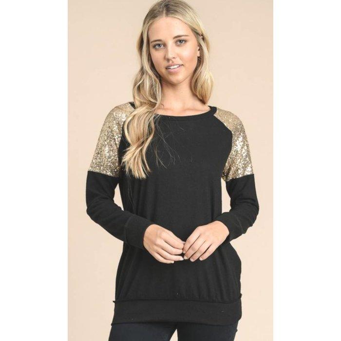 Black Gold Glitter Sweater