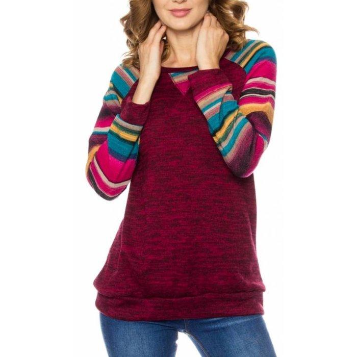 Multi Striped Sleeve Burgundy Sweater