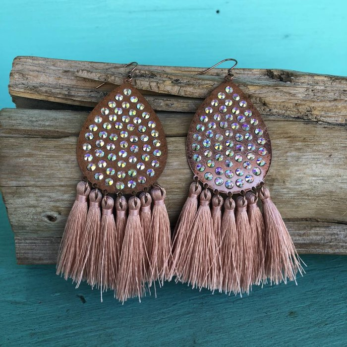 Rose Gold Teardrop AB Tassel Earrings