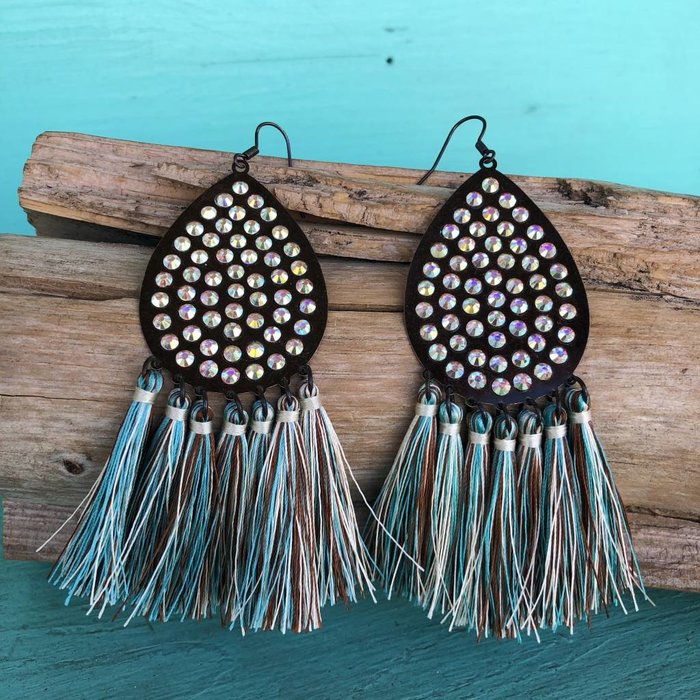 Patina Teardrop AB Tassel Earrings