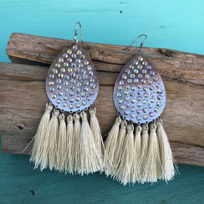 AB Silver Teardrop Ivory Tassel Earrings