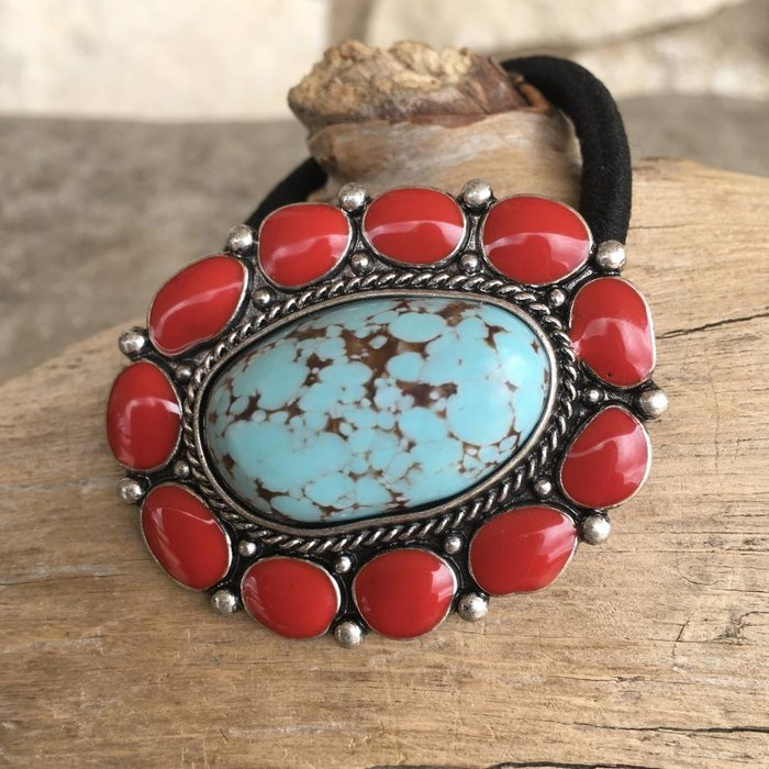 Red & Turquoise Stone Hair Band