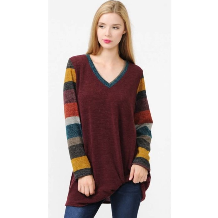 Burgundy Solid contrast multi striped v-neck with knot