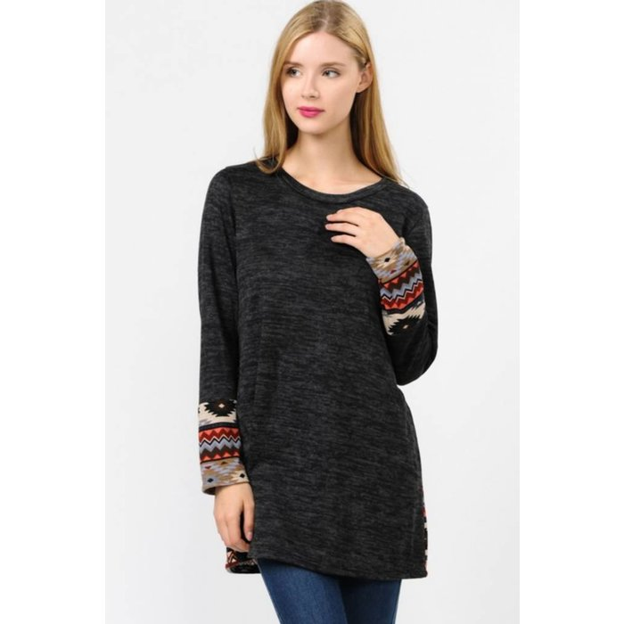Aztec Button Back Charcoal Sweater