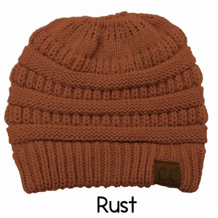 Rust Messy Bun Beanie