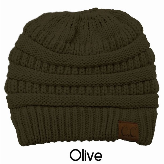 Olive Messy Bun Beanie