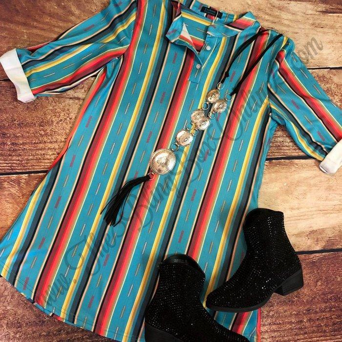 Turquoise Serape Roll Tab Sleeve Dress