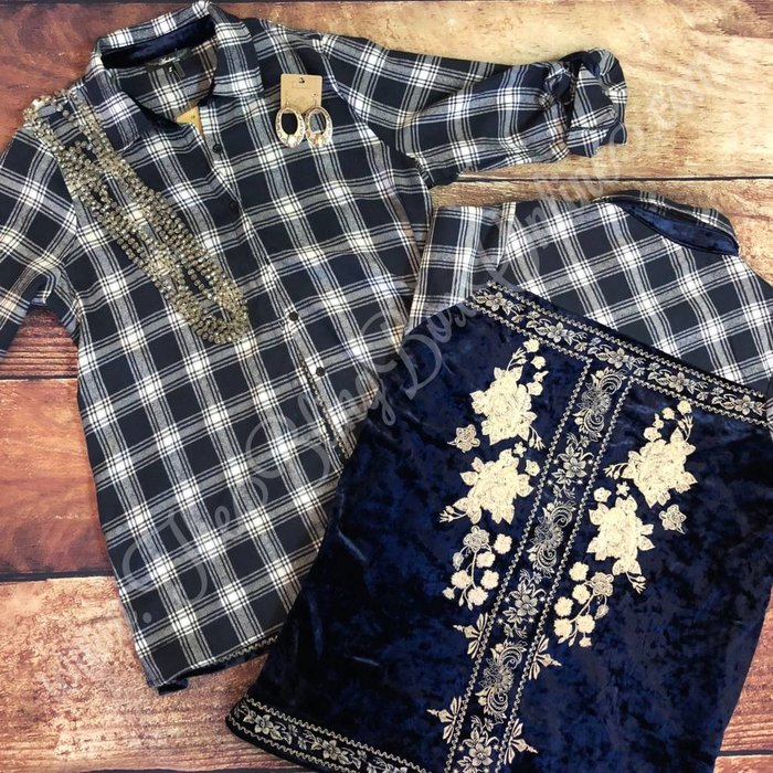 Navy Plaid Flannel Velvet Embroidered Button Up Top