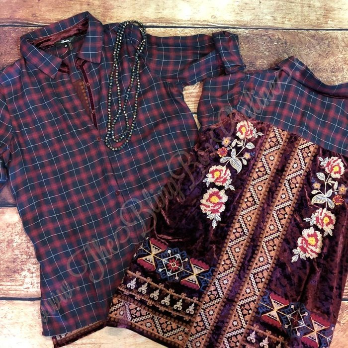 Burgundy & Navy Plaid Velvet Embroidered Button Up Top