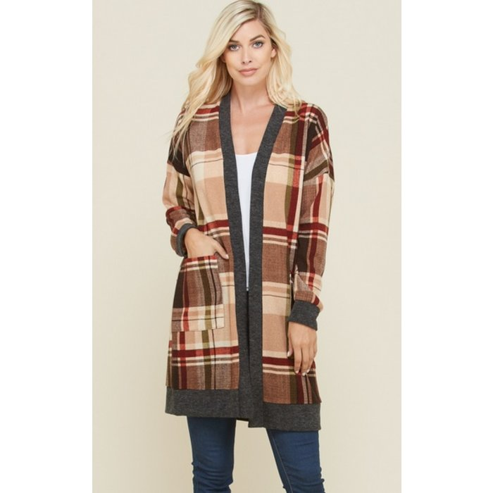 Taupe Plaid Print Cardigan With Pockets