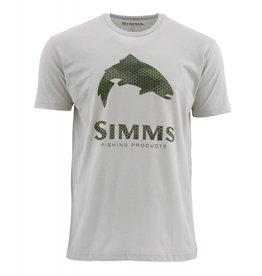 Simms Simms Hex Camo Trout Logo T-Shirt Granite