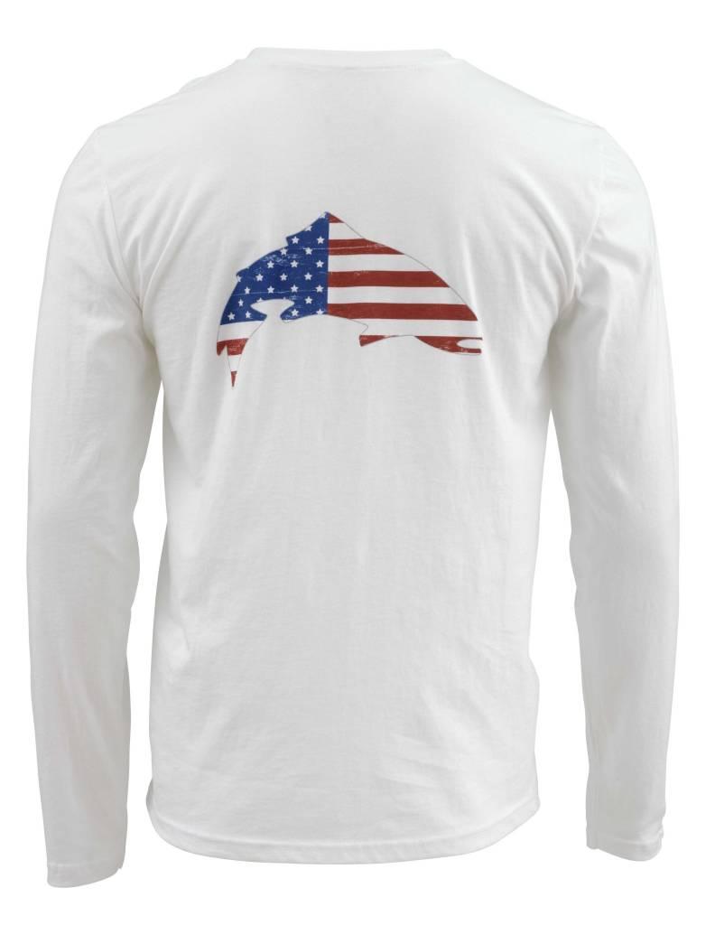 Simms Simms Trout USA T-Shirt (Long Sleeve) White