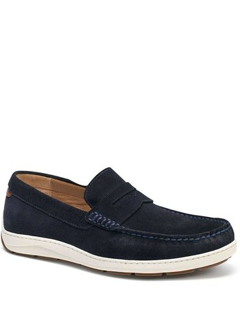 TRASK SHELDON SUEDE PENNY LOAFERS