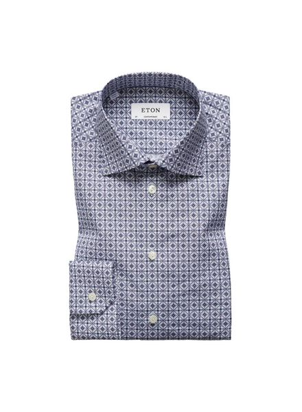 ETON OF SWEDEN BLUE MEDALLION PRINT SHIRT