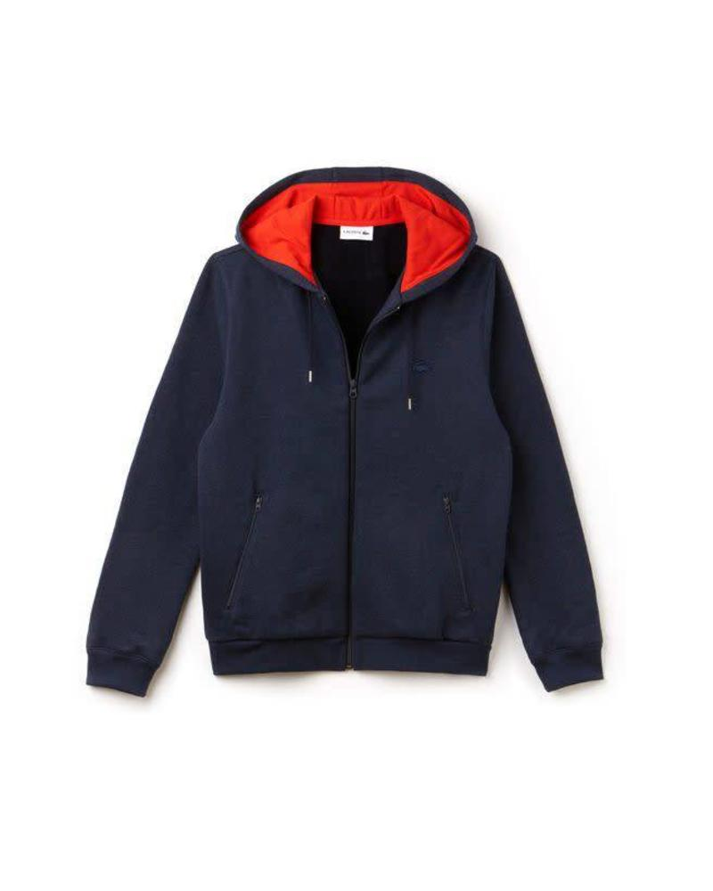 LACOSTE HOODED FLEECE ZIP SWEATSHIRT
