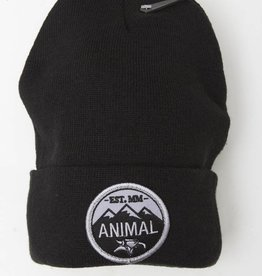 animal mountain top beanie black