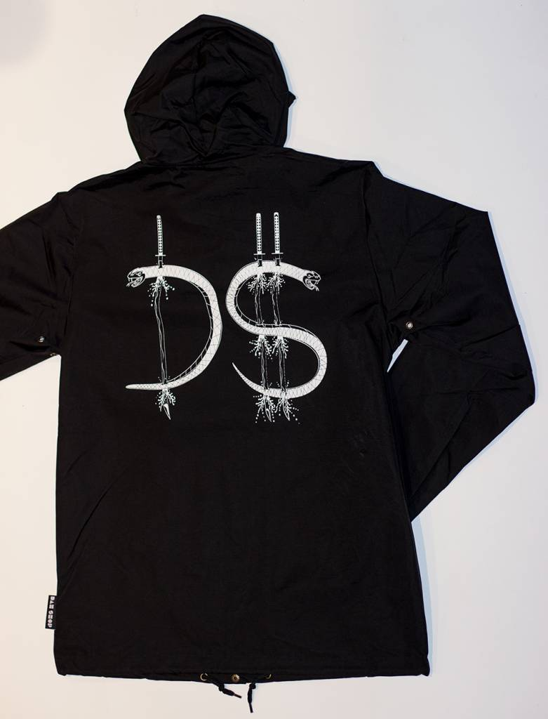 dah shop wind breaker with hoodie black/ white large