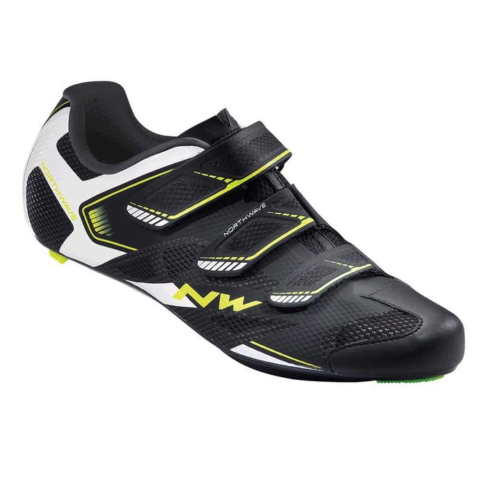 Northwave, Sonic 2, Road shoes, Black/White/Yellow Fluo, 46